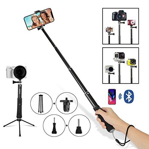 Bluetooth Selfie Stick Allungabile estensibile palmare Supporto autoscatto Telecomando integrato Wrap avvolgente per viaggi Famiglia Intrattenimento Foto Amici - Compatibile con Gopro iPhone Samsung