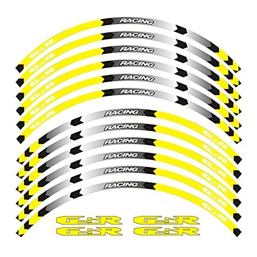 wjyfexble Etiqueta de la Rueda de la Motocicleta Pegatina Raya Decoración Reflectante Calcomanías Compatible con Suzuki GSR WYJHN (Color : 2)