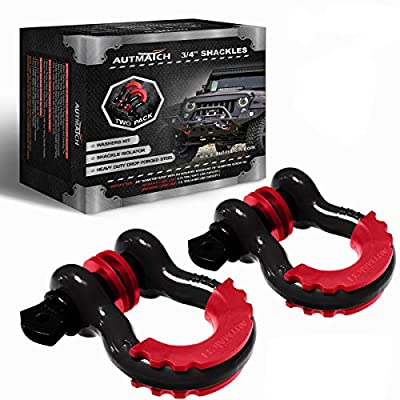 "Autmatch Shackles 3/4"" D Ring Shackle (2 Pack) 41,887Ib Break Strength 7/8"" Screw Pin Shackle Isolator & Washers Kit Tow Strap Winch Off Road Towing Accessory Jeep Vehicle Recovery"