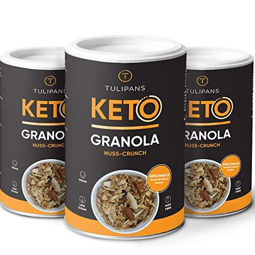 Tulipans Keto Granola ohne Zucker - Nuss-Crunch Low Carb Müsli | 3 x 250 g | 80% weniger Kohlenhydrathe als herkömmliche Müslis | vegan | unterstützt ketogene Ernährung