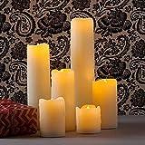WMDC Velas de Boda electrónicas sin Llama realistas Decorativas, luz de Vela de Cera LED, propuesta de Matrimonio romántico, decoración del día de San Valentín.Vela cálida (Color: Tamaño 75x180mm)