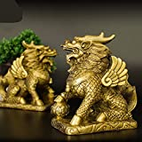 ZSQQSCL Escultura Estatua,Tamaño Grande 2 Unids/Set Feng Shui Latón Dorado Chi Lin/Kylin Riqueza Estatua De La Prosperidad Decoración del Hogar Atraer Riqueza Y Buena Suerte