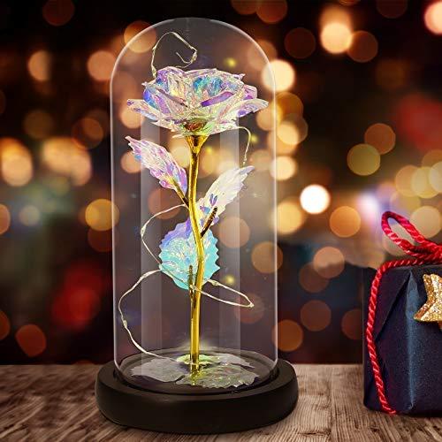 Gomyhom Regalo de Rosas con Flores Artificiales, Rosas arcoíris, luz LED en Vidrio para Decoración del hogar, Regalos Personalizados para mamá, Abuela, Mujeres, Novia, Día de San Valentín, Cumpleaños