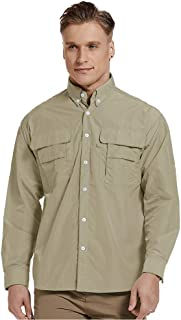 Men's Long Sleeve Fishing Shirts, Sun Protection Breathable Quick Dry Casual Shirts for Work Travel Sailing