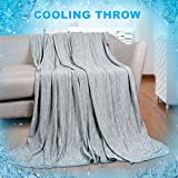 Cooling BlanketJapanese Q-Max 0.4 Technology keep cool in hot summer, 51 X 67in twin or baby sized blanket for Adults, Children, Babies. Mica Nylon and PE Cool Fabric Breathable Comfortable.(Grey)