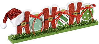 Christmas Tabletop Block Letter Sign -ho ho ho with Santa Hat- 14 inches
