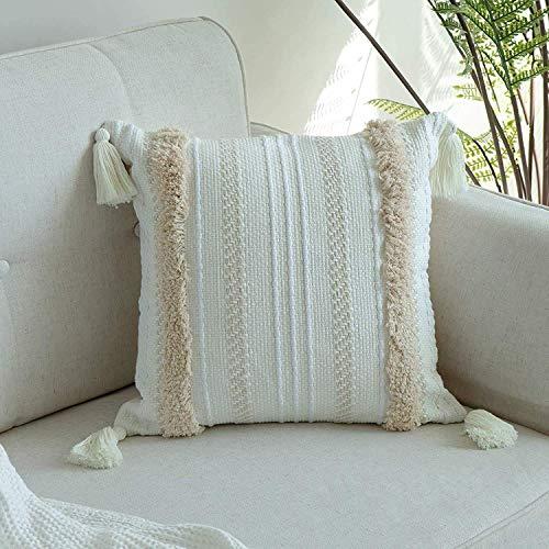 1 Stück Boho Kissenbezug, Dekorative Boho Kissenbezüge Kissenhülle mit Quaste Getuftet für Sofa Couch, Baumwolle Dekokissen Sofakissen für Schlafzimmer Wohnzimmer 45x45cm (Gelb Creme)