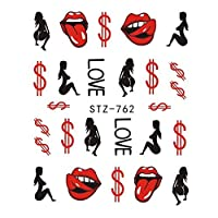HDSHD 1PCSネイルステッカーセクシーな唇は、ネイルデコレーションマニキュアカラフルなヒントについての女の子水デカールラップ漫画スライダークール (色 : STZ 762)