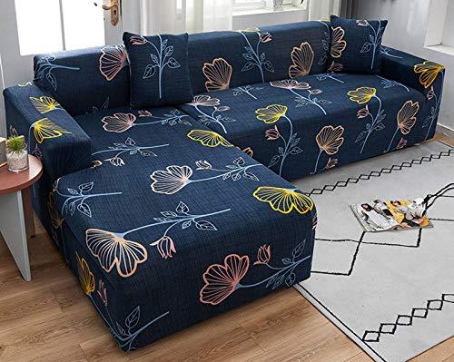 SLOUD Funda de sofá 2 Piezas, Fundas de sofá en Forma de L, Funda de sofá seccional, Fundas Protectoras de Muebles, con Dos Fundas de Almohada-G-En Forma de l 2+3 plazas
