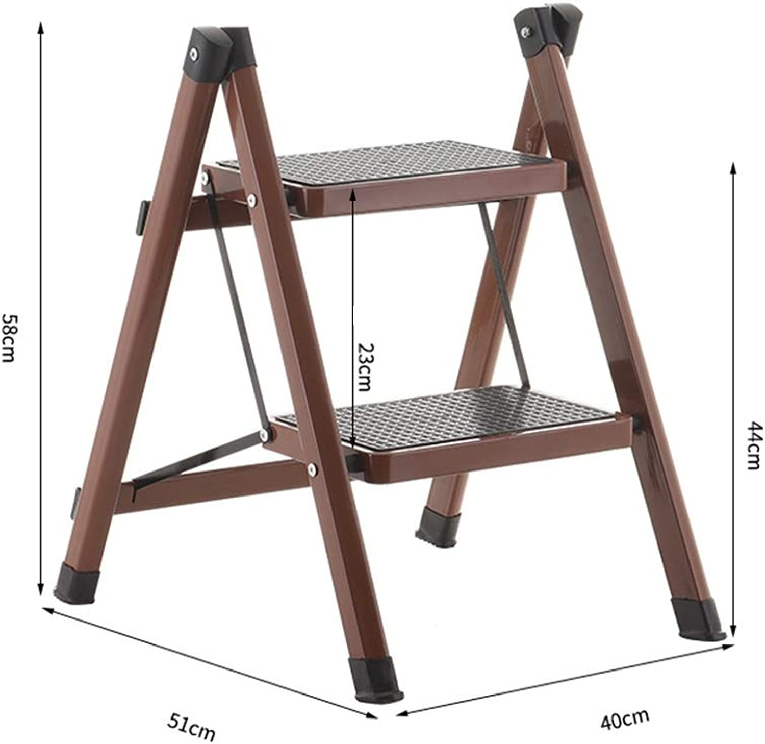 ZAHOYONGLI-Stepladders Stepstools Ladder Stool Step Stool Household Iron Art Two Steps Folding Ladder Kitchen Staircase Stool Load Bearing 150kg (color   Brown, Size   51  40  58cm)