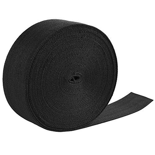Jalan 50mm 11 Yard Gurtband Schwerlast Nylon Gurt für Taschen, Rucksäcke, Gürtel, Geschirre, Schlingen, Halsbänder, Schleppseile - Schwarz