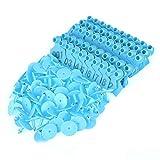 Fdit 100 etiquetas de plástico para animales de cabre, orejas, etiquetas de plástico para animales de cabra, oveja, animales y aplicador de etiquetas para orejas (azul)