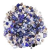 YiYa Blu Pietra di Agata Ghiaia Pietra Gemma Quarzo Cristallo Naturale Usato per la Decorazione Domestica Vaso Riempito Piscina Piante in Vaso Decorazione (Circa 310 g/Borsa)