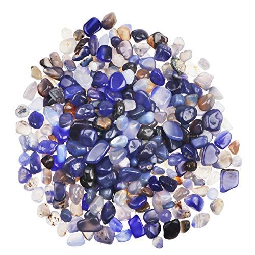 YiYa Azul Piedra de ágata, Piedra triturada, Piedra Preciosa, Utilizado para la decoración del hogar, llenado de jarrones, decoración de Fondo en macetas para Piscinas (Aproximadamente 310g / Bolsa)