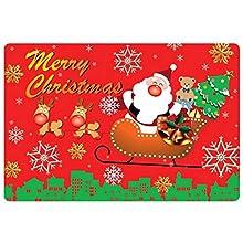 Felpudos Papá Noel Cómoda Alfombra Navideña Poliéster Felpudo Invierno Lavable Antideslizante Navidad Alfombras Antideslizantes Estampadas Navideñas Interiores para el Salón el Baño la Cocina, 40X60cm