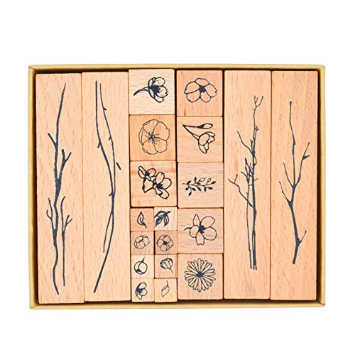 Cliocoo 20pcs Wood Rubber Stamp Set, Cherry Blossom Decorative Wooden Stamp Set, Sakura Petal Stamp for Art Craft, Journal, Diary, Scrapbook, Planner, Letter, Card Making M-24