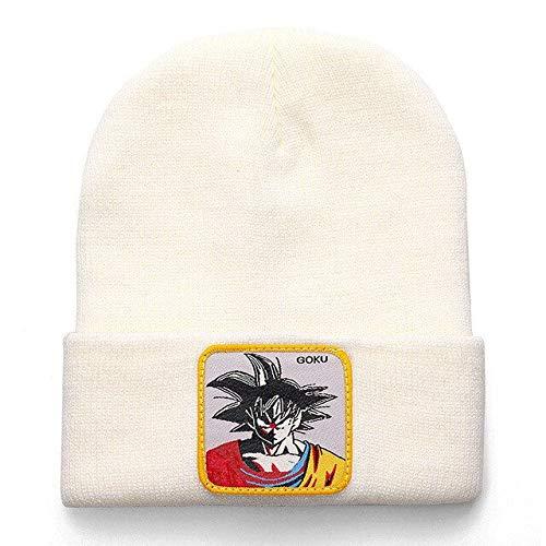 Doudou Herren und Damen hochwertige Baumwolle lässige Mütze warm gestrickte Wintermütze Mode solide Unisex-Mütze-Goku White
