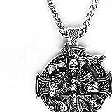 Uezenu Wikinger Odin Porträt Titanium Stahl Anhänger Mythos Retro Persönlichkeit Kreuz Tomahawk Eagle Bird Rune Runde Edelstahl Amulett Halskette (Color : Silver, Size : 60CM)