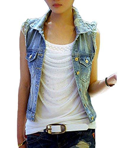 Runyue Donna Giacca Denim Senza Maniche Gilet in Jeans Slim Fit Lavaggio Colore Chiaro Strappati Giubbotto in Jeans Blu S