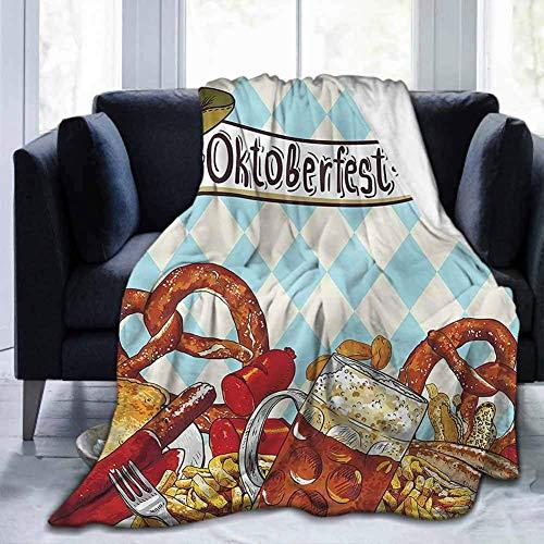 Flanell Ultra-Soft Decke Dekorative Weiche Warme Gemütliche Plüsch Oktoberfest, Leckere Wurst Brezel, 50 'x 60' Leicht und Warm