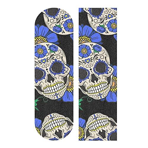 Skulls Blue Flowers - Adhesivo para monopatín (9 x 33 pulgadas), diseño de flores azules