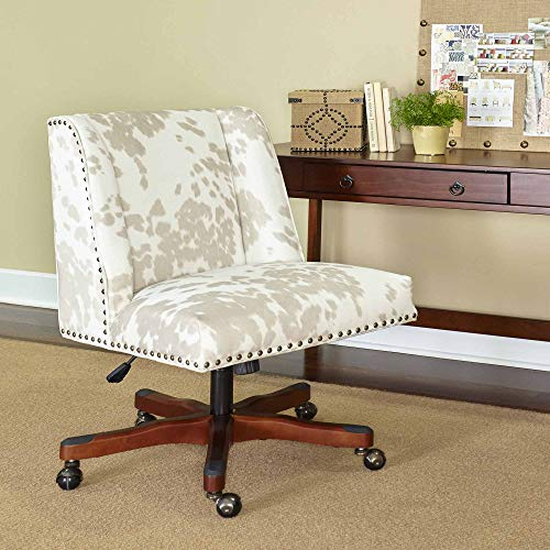 Linon Home Décor Linon Draper Linen Cow Print Office Chair,...