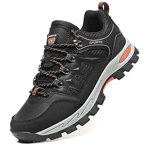 VTASQ Zapatillas de Senderismo Hombre Zapatillas Trekking Antideslizantes Transpirable Botas Montaña Bajas Zapatillas de Camping Negro 46
