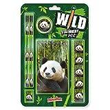 Wild Stationery Set - Panda de Deluxebase. Este divertido set de papelería para chicas y chicos incluye 2 lápices, goma de borrar, sacapuntas, regla y cuaderno