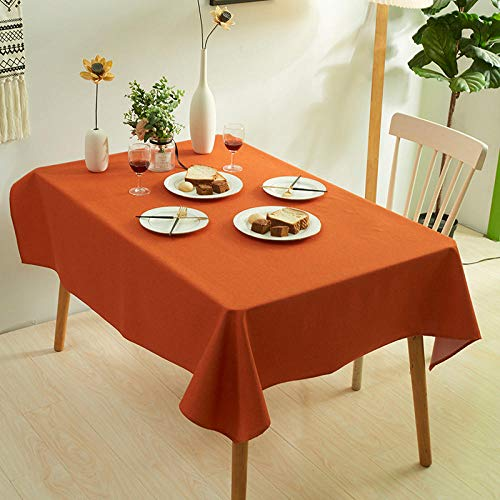 XIAOBAO Tablecloth,Pure color thickened table cloth, water-proof non-washing table cloth-Orange_140*140cm,Wipe Clean Tablecloth