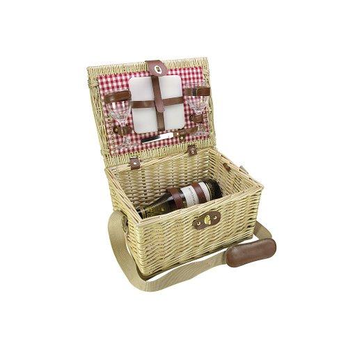 Gusta Picknickkorb Wein mit Weinhalterung 5 tlg. 34 x 26 x 20 cm beige/braun Gläser: Glas, Käseplatten: Porzellan