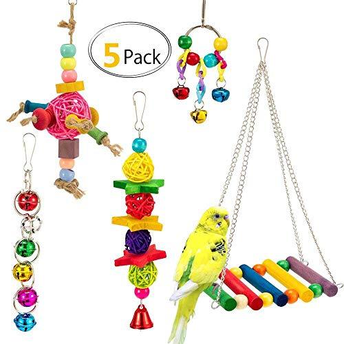 AUOKER Balançoire pour oiseaux, jouets pour perroquet à suspendre avec clochette, hamac pour cage pour perruches, inséparables, conures, petites perruches, pinsons, cacatoès – 5 pièces