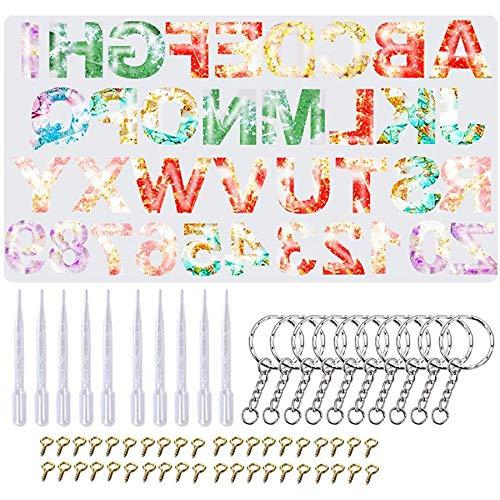 Dasing hars siliconen mallen, SURBEAV alfabet gieten mallen en gereedschap Set Letter & nummer Epoxy hars mallen voor Epoxy hars ambachten DIY sleutelhangers, krijt, zeep, klei ambachten