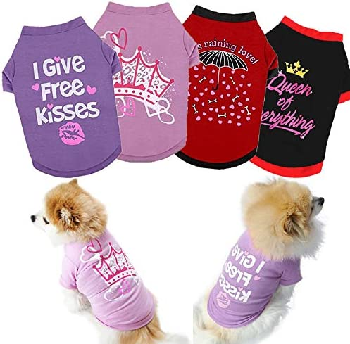 Yikeyo Set of 4 Dog Shirt for Small Dog Girl Puppy Clothes for Chihuahua Yorkies Bulldog Summer product image
