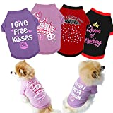 Yikeyo Set of 4 Dog Shirt for Small Dog Girl Puppy Clothes for Chihuahua Yorkies Bulldog Summer Pet Outfits Female Outfits Tshirt Apparel (4PC, X-Small)