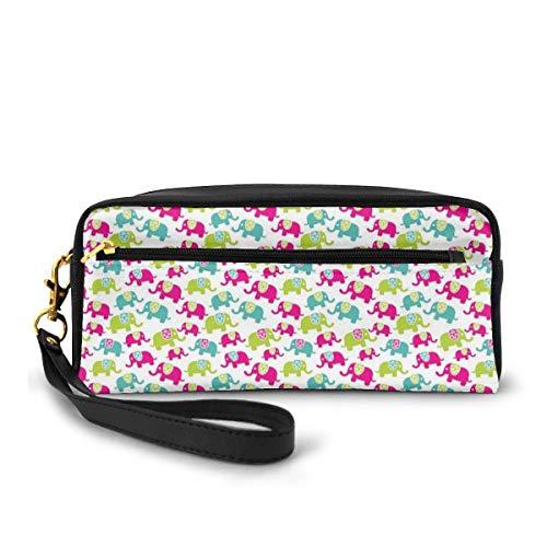 Pencil Case Pen Bag Pouch Stationary,Vivid Color Animals with Floral Patterns Joyful Oriental Cartoon,Small Makeup Bag Coin Purse