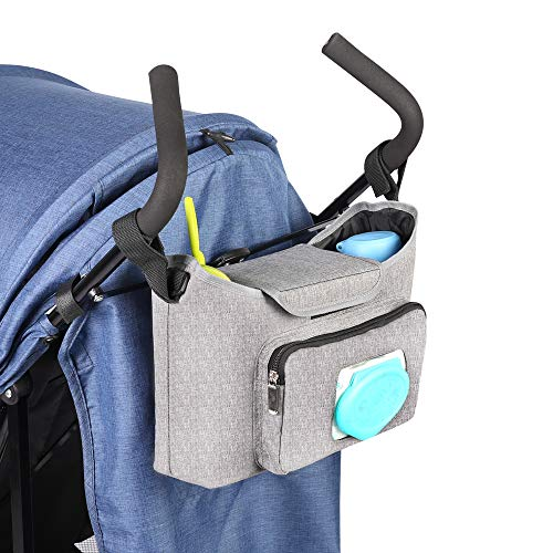 Baby Stroller Organizer Universal Baby Jogger Caddy with Two Insulated Cup Holders Wipes Pocket and Shoulder Strap Stroller Accessories