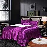 Erosebridal Hotel Purple Duvet Cover Twin/Single Silk Like Satin Bedding Set Summer Reversible Quilt Comforter Cover Honeymoon Sexy Luxury Soft Lightweight Brushed Bedspreads for Farmhouse Room Decor