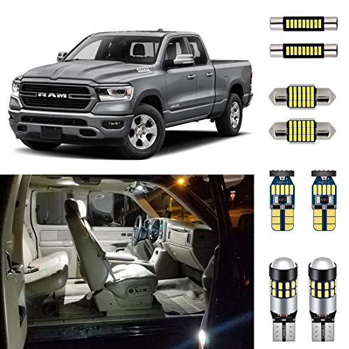 AUTOGINE 12 Piece White Interior LED Lights Kit for 2019 2020 Dodge Ram 1500 2500 3500 Super Bright 6000K Interior LED Light Bulbs Package + Install Tool