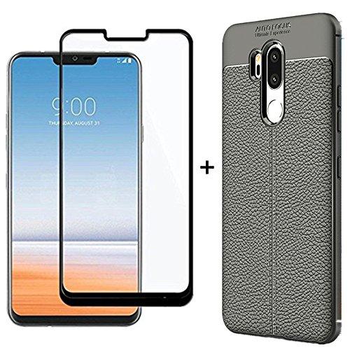Für LG G7thinq Weiche Schwarz Leder Schutzhülle mit 3D Oberfläche Bildschirm gehärtetem Glas Displayschutzfolie 1Case + 1Film/Set für–LG G7g710ulm g710vmx g710pm lmg710tm lmg710vm