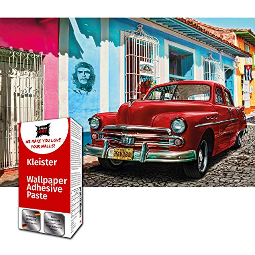GREAT ART Fototapete Oldtimer Auto 210 x 140 cm – Havanna Designtapete Rote Kubanische Autos Kuba Wanddekoration Wandtapete Dekoration Wandbild – 5 Teile Tapete inklusive Kleister