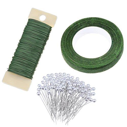 1/2 Zoll Flora Kreppband, 22 Gauge Floral Wire und 100 Stück Kugelkopf Pins