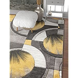 Well Woven Sunburst Gold, Light Grey, Charcoal Modern 9×13 (9'3″ x 12'6″) Geometric Comfy Casual Hand Carved Area Rug Abstract Contemporary Thick Soft Plush