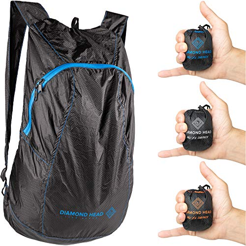Diamond Head Equipment | Pali 20L Daypack | Ultralight Packable Backpack | 2.3 Ounces | Easy to Disinfect (Black/Blue)