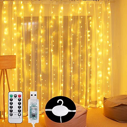 Curtain Lights 300 LED Wall Fairy Lights 9.8Ftx9.8Ft USB Remote Powered String Lights IP64 Waterproof Window Room Bedroom Wedding Christmas LED Waterfall Decorations Lights