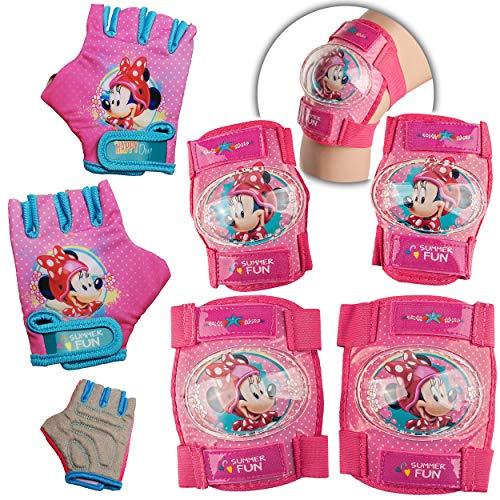 alles-meine.de GmbH 6 TLG. Set - Knieschoner + Ellenbogenschützer + Fahrradhandschuhe - Disney - Minnie Mouse - für Circa 4 bis 12 Jahre - Kinder - Schutzausrüstung - Gelenkschüt..
