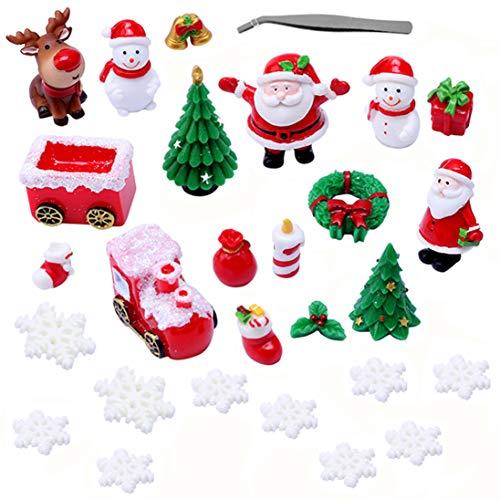 GER Christmas Miniature Figurine Ornament, 28pcs Mini Christmas Figures Resin Miniature Xmas Tree Snowman Santa Claus Reindeer Figurines Ornaments for DIY Fairy Garden Dollhouse Decoration