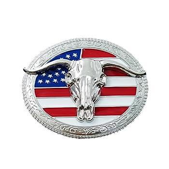 QUKE American Western Cowboy USA Flag Rodeo Long Horn Bull Belt Buckle