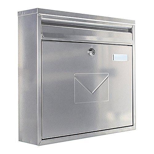 Rottner brievenbus Teramo staal zilver, mailbox, brievenbus, hek brievenbus, 2 inwerpmogelijkheden, naambord
