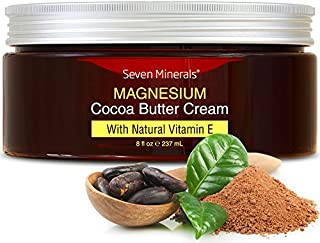 Natural Magnesium Cream for Pain Calm, Leg Cramps, Sleep & Muscle Soreness. With Moisturizing Organic Cocoa...