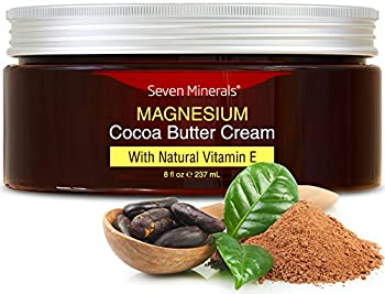 Natural Magnesium Cream for Pain Calm Leg Cramps Sleep & Muscle Soreness With Moisturizing Organic Cocoa Butter and Vitamin E - No Harmful Ingredients Our USA Made Creme is Safe for Kids  8 fl oz